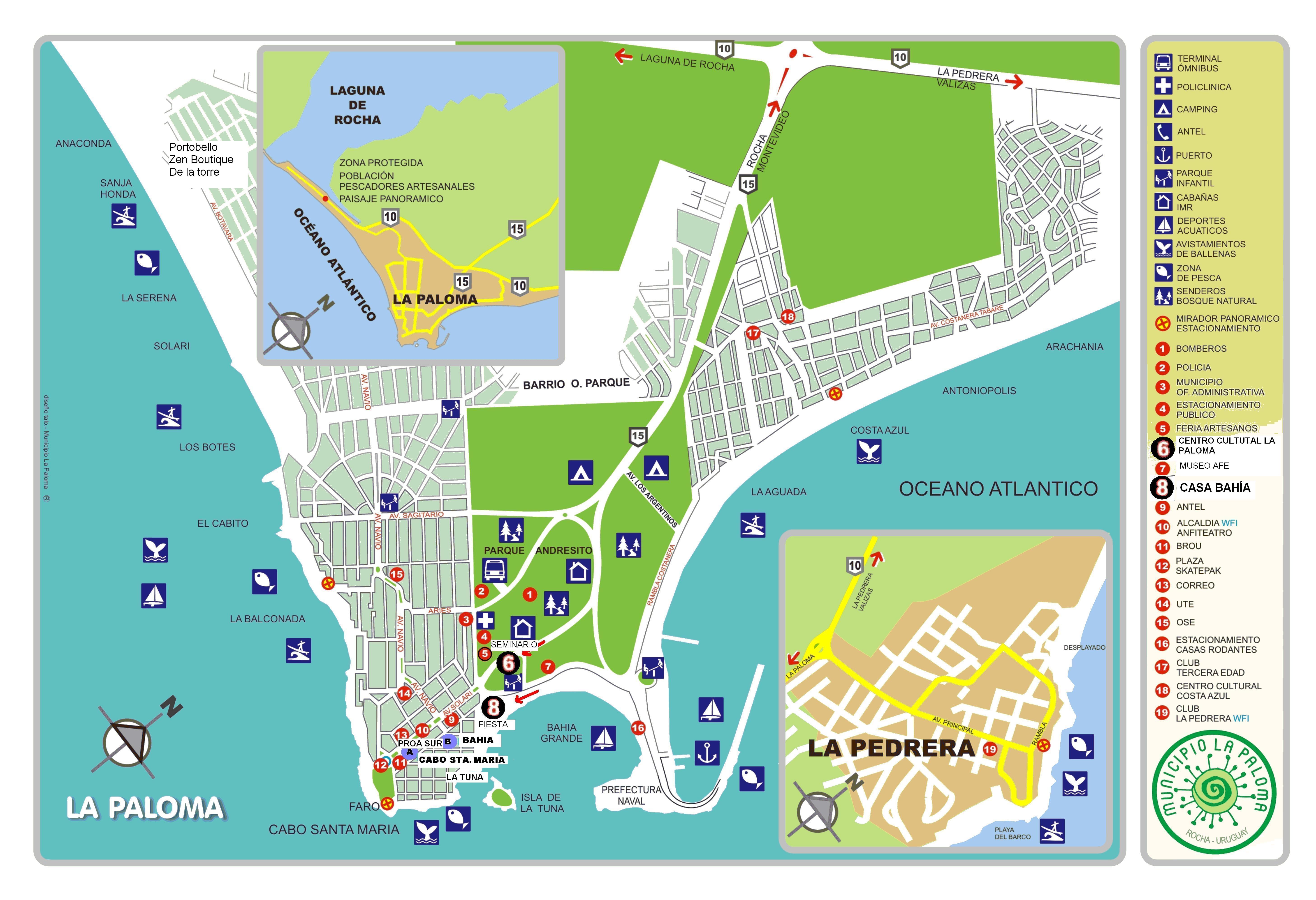 Ver aquí mapa de La Paloma con la ubicación de los mencionados hospedajes.